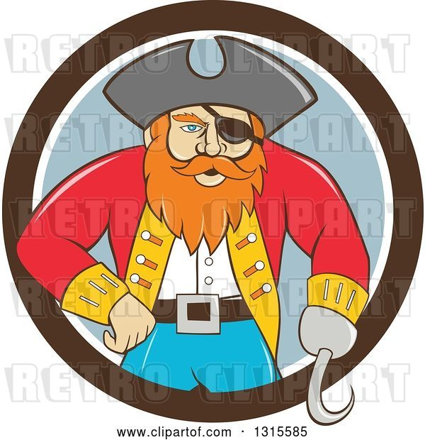 Vector Clip Art of Retro Cartoon Captain Pirate with a Peg Leg and Hook Hand, Emerging from a Brown White and Gray Circle