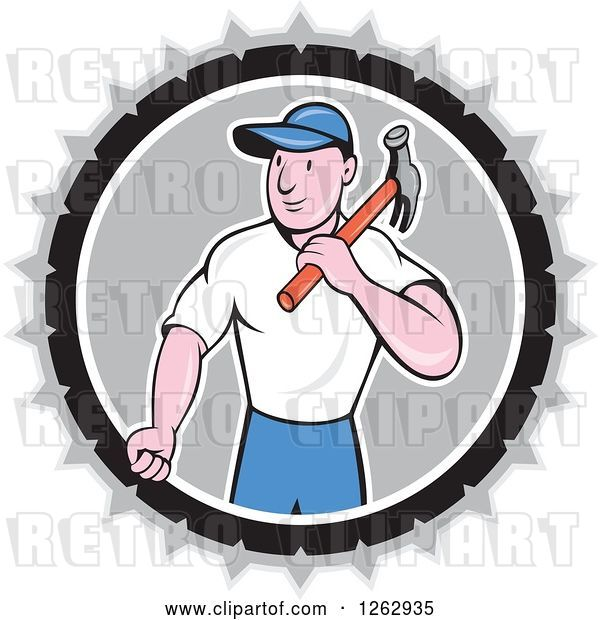 Vector Clip Art of Retro Cartoon Carpenter with a Hammer in a Gray White and Black Circle