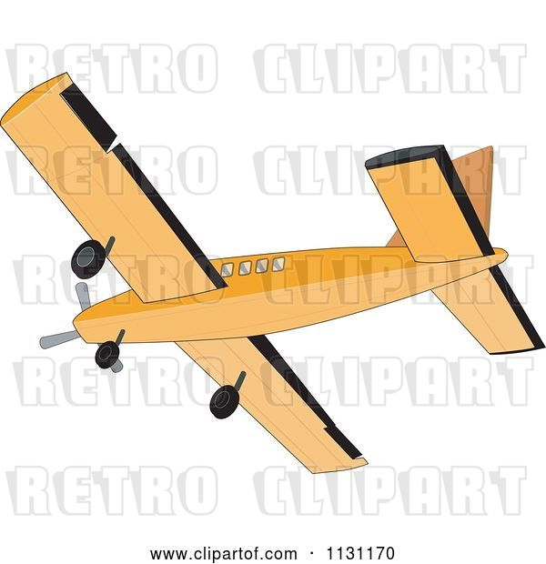 Vector Clip Art of Retro Cartoon Cessna Airplane