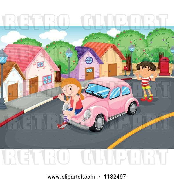 Vector Clip Art of Retro Cartoon Children with a Pink Slug Bug Car