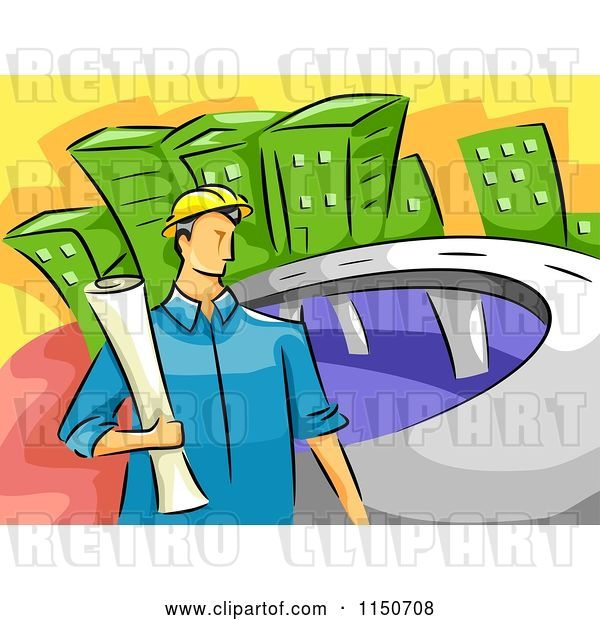 Vector Clip Art of Retro Cartoon Civil Engineer Guy Holding Blueprints by a Road