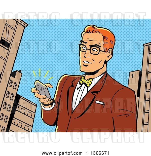 Vector Clip Art of Retro Cartoon Comic Styled Bespectacled Red Haired White Guy Holding a Ringing Smart Phone in a City