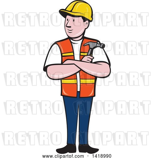 Vector Clip Art of Retro Cartoon Construction Worker Holding a Hammer in Folded Arms