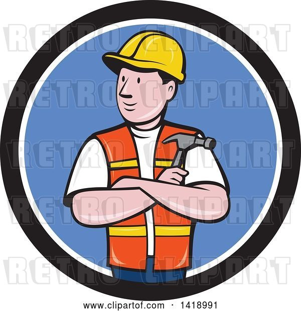 Vector Clip Art of Retro Cartoon Construction Worker Holding a Hammer in Folded Arms in a Black White and Blue Circle