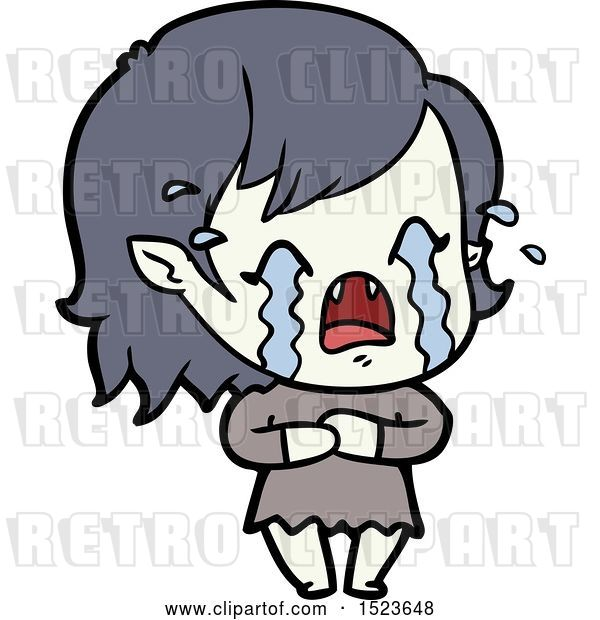 Vector Clip Art of Retro Cartoon Crying Vampire Girl