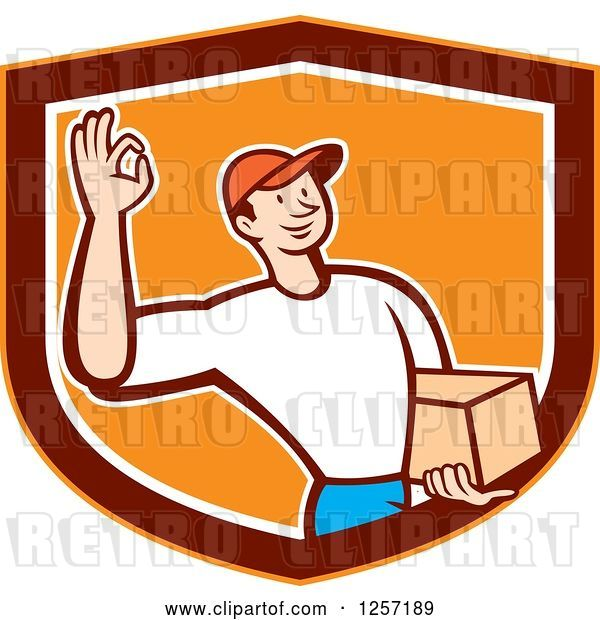 Vector Clip Art of Retro Cartoon Delivery Guy Gesturing Ok and Carrying a Parcel in an Orange Marroon and White Shield