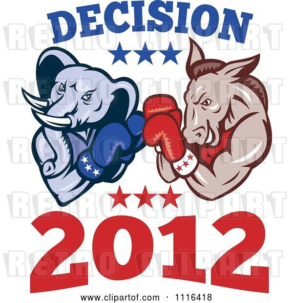Vector Clip Art of Retro Cartoon Democratic Donkey and Republican Elephant Boxing with Decision 2012 Text