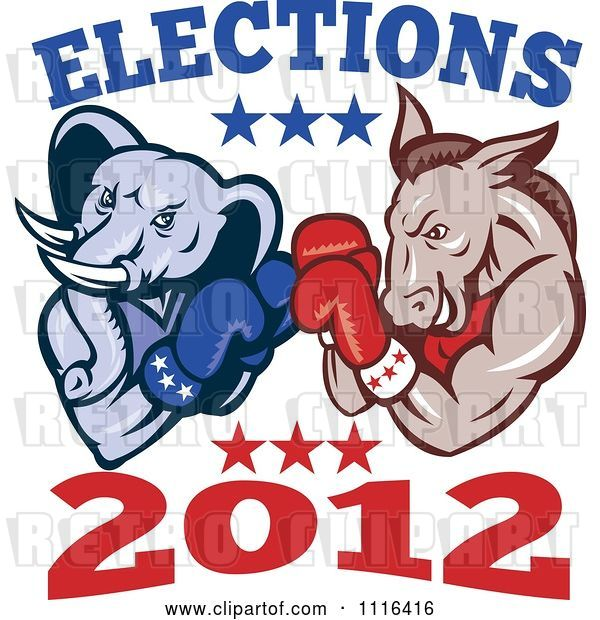 Vector Clip Art of Retro Cartoon Democratic Donkey and Republican Elephant Boxing with Elections 2012 Text