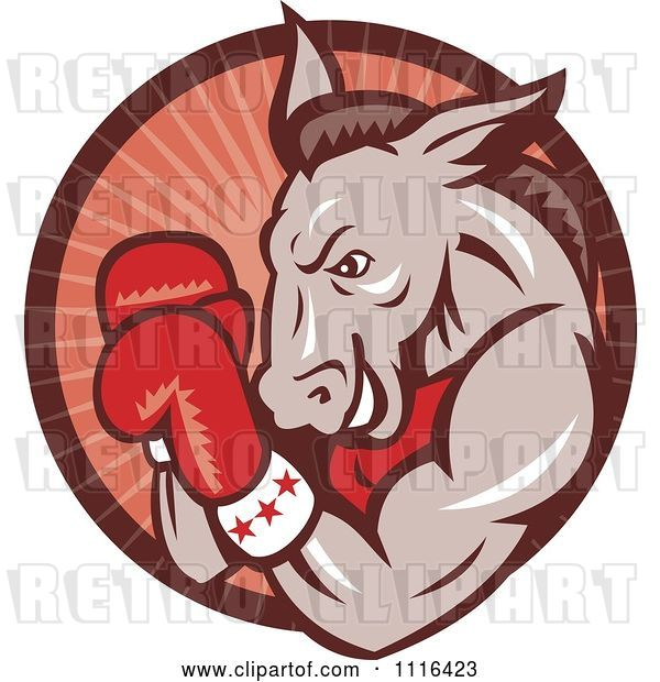 Vector Clip Art of Retro Cartoon Democratic Donkey Boxer in a Red Ray Circle