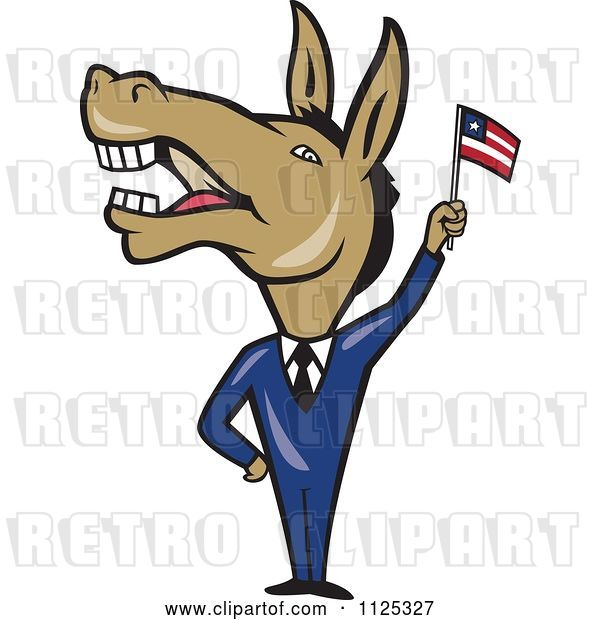 Vector Clip Art of Retro Cartoon Democratic Donkey in a Suit Waving an American Flag