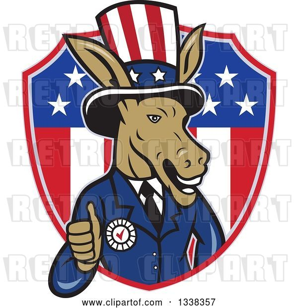 Vector Clip Art of Retro Cartoon Democratic Party Donkey Uncle Sam Giving a Thumb up and Emerging from an American Shield