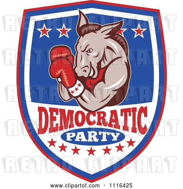 Vector Clip Art of Retro Cartoon Donkey Boxer on a Democratic Party Shield