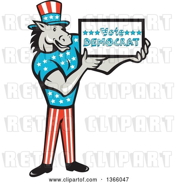 Vector Clip Art of Retro Cartoon Donkey Wearing a Top Hat and Holding a Vote Democrat Sign