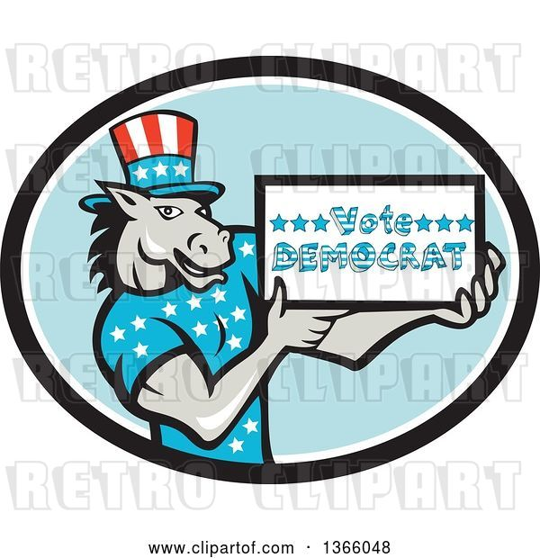 Vector Clip Art of Retro Cartoon Donkey Wearing a Top Hat and Holding a Vote Democrat Sign in an Oval
