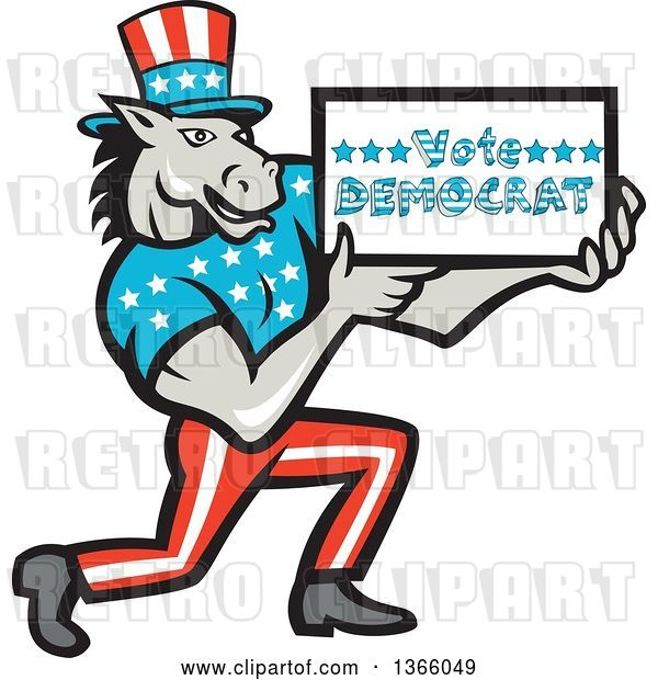 Vector Clip Art of Retro Cartoon Donkey Wearing a Top Hat, Kneeling and Holding a Vote Democrat Sign