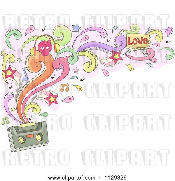 Vector Clip Art of Retro Cartoon Doodled Cassette Tape with Swirls Splashes Notes and Stars