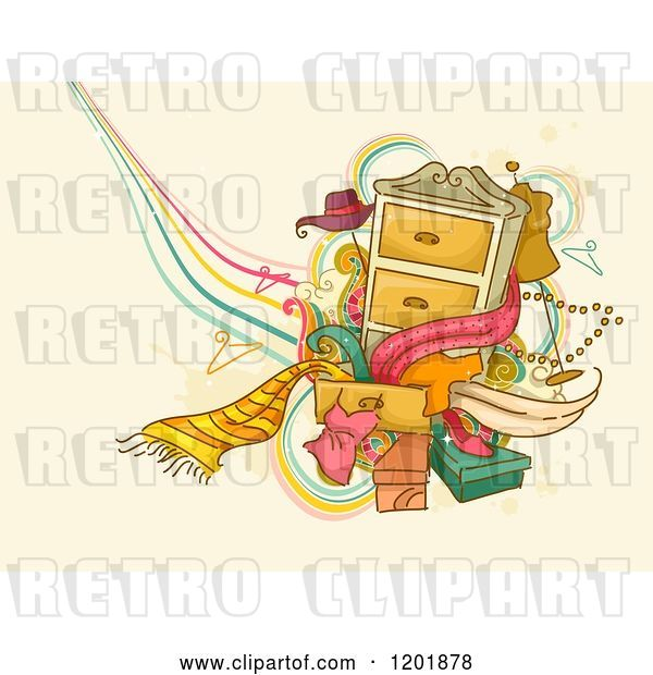 Vector Clip Art of Retro Cartoon Dresser with Accessories and Clothes over Tan Grunge