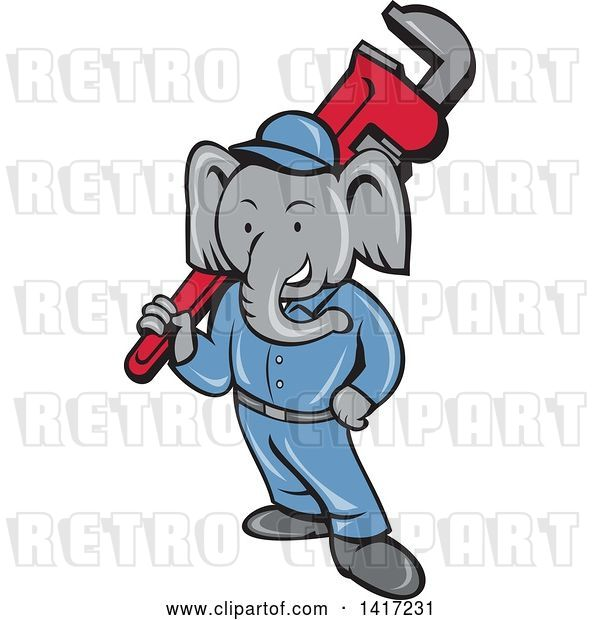 Vector Clip Art of Retro Cartoon Elephant Guy Plumber Holding a Giant Monkey Wrench