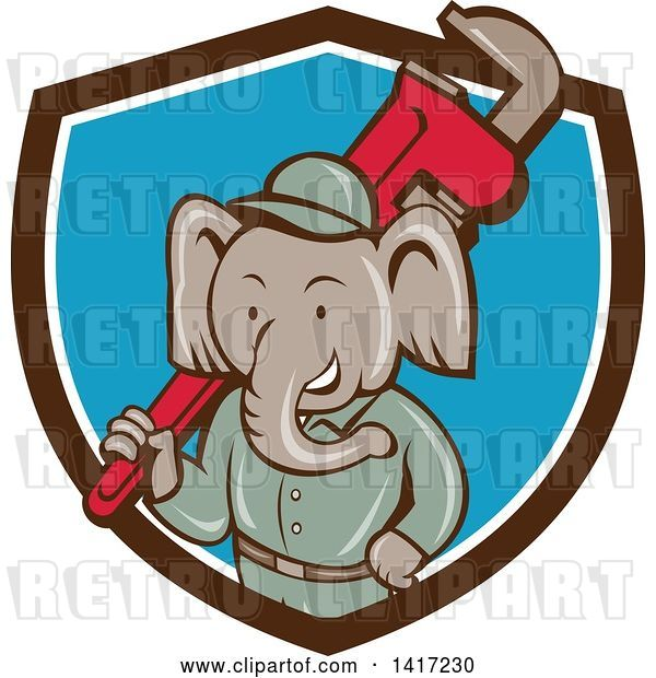 Vector Clip Art of Retro Cartoon Elephant Guy Plumber Holding a Giant Monkey Wrench, Emerging from a Brown White and Blue Shield