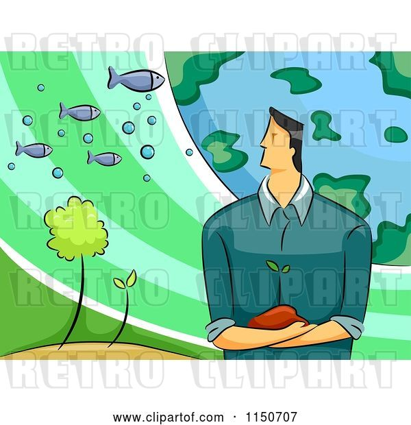 Vector Clip Art of Retro Cartoon Environmental Scientist Guy with the Earth Plants and Fish