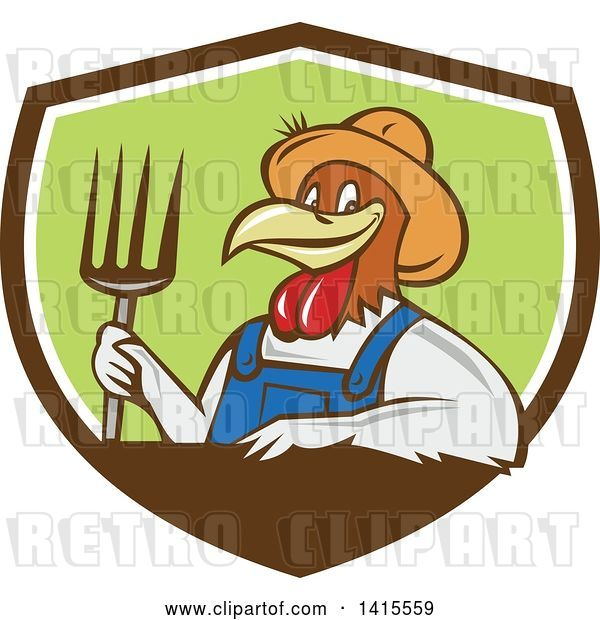 Vector Clip Art of Retro Cartoon Farmer Rooster Chicken Guy Wearing Overalls and a Straw Hat, Holding a Pitchfork in a Brown White and Green Shield