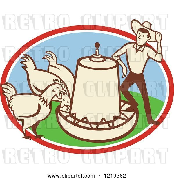 Vector Clip Art of Retro Cartoon Farmer with Chickens at a Feeder in an Oval