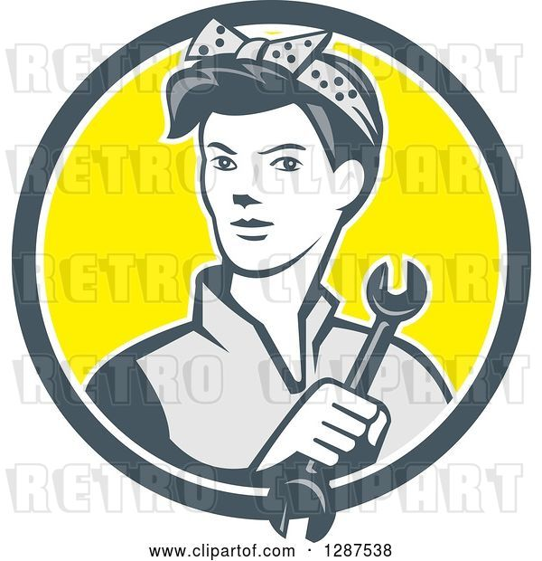 Vector Clip Art of Retro Cartoon Female Mechanic Holding a Wrench in a Gray White and Yellow Circle