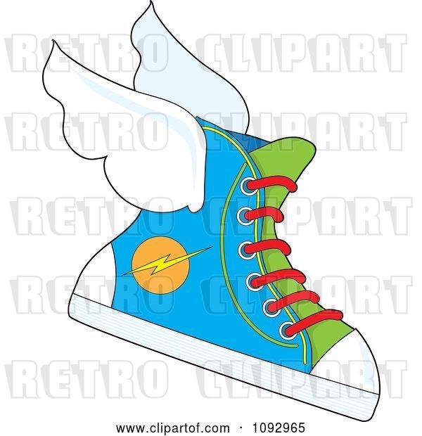 Vector Clip Art of Retro Cartoon Flying Sneaker with a Lightning Bolt Icon