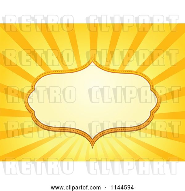 Vector Clip Art of Retro Cartoon Frame over Orange and Yellow Rays