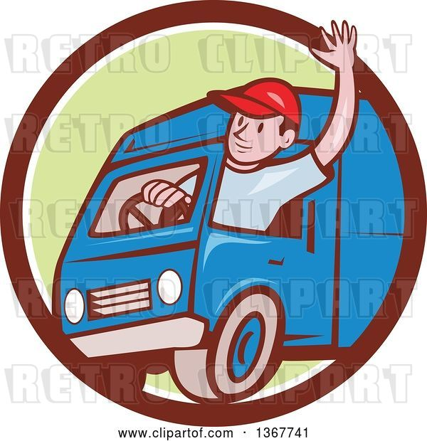 Vector Clip Art of Retro Cartoon Friendly White Male Delivery Truck Driver Waving in a Brown White and Green Circle