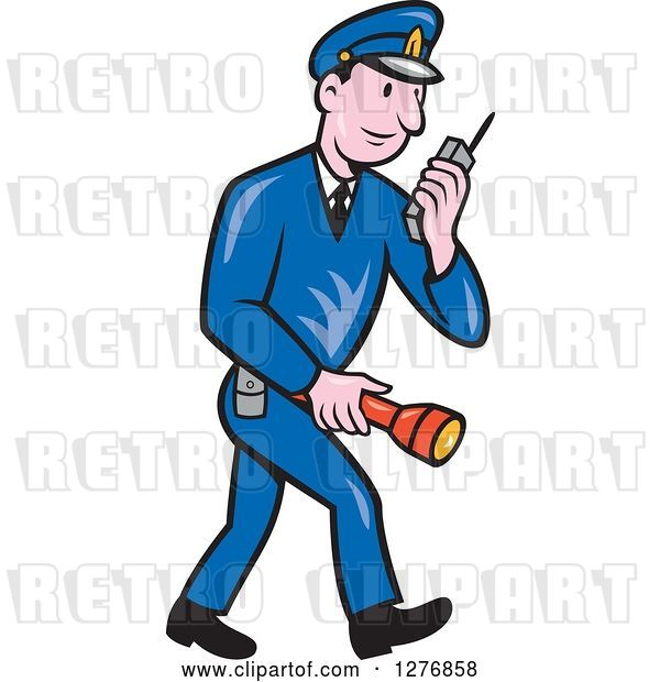 Vector Clip Art of Retro Cartoon Full Length Police Guy Talking on a Walkie Talkie and Holding a Flashlight