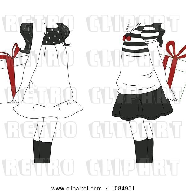 Vector Clip Art of Retro Cartoon Gift Exchange Girls Holding Presents with Red Bows Behind Their Backs