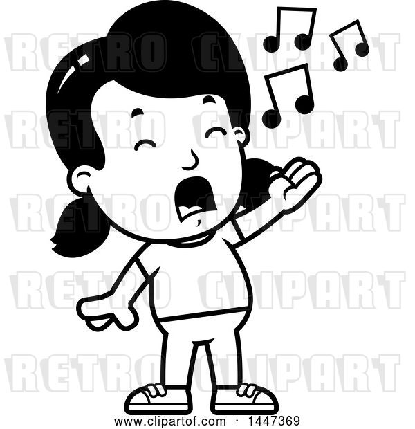 Vector Clip Art of Retro Cartoon Girl Singing