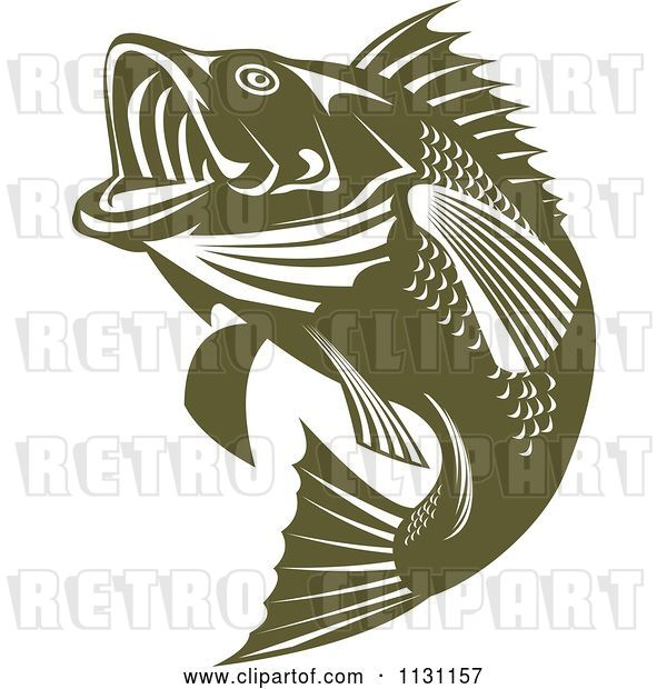 Vector Clip Art of Retro Cartoon Green Jumping Largemouth Bass Fish