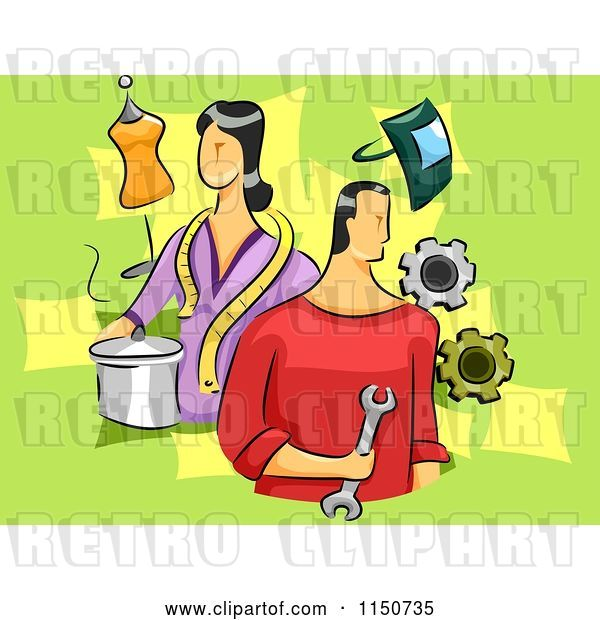 Vector Clip Art of Retro Cartoon Guy and Lady with Different Skills