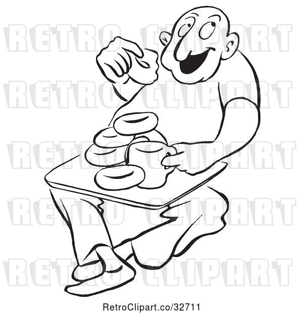 Vector Clip Art of Retro Cartoon Guy Eating Coffee and Donuts