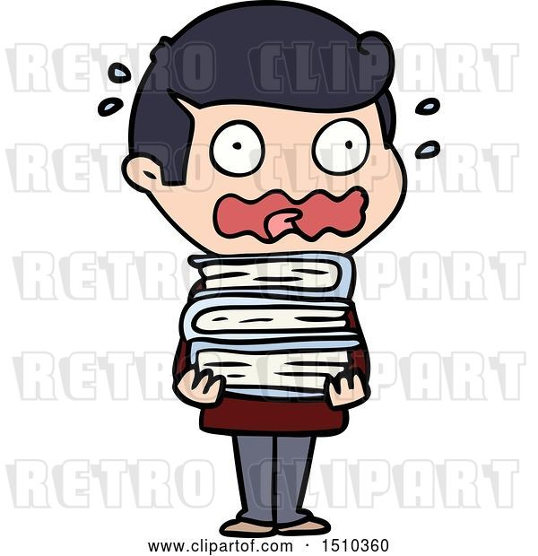 Vector Clip Art of Retro Cartoon Guy with Books Totally Stressed out
