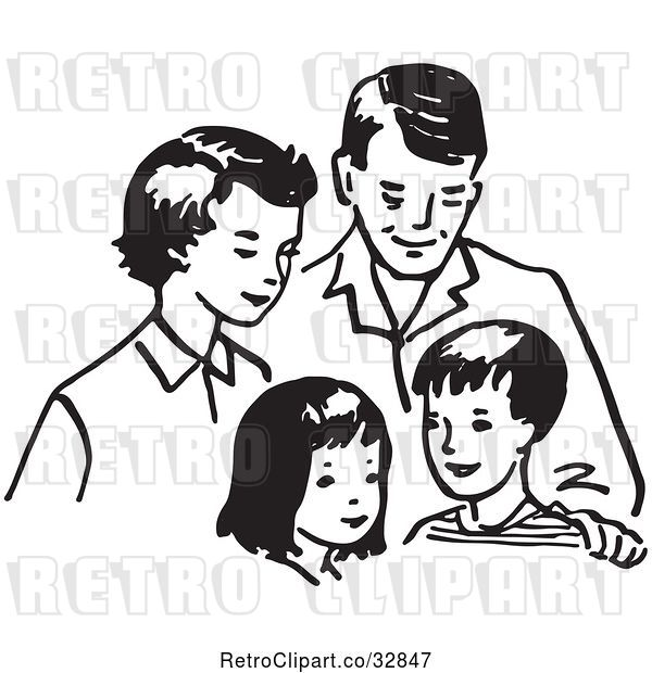 Vector Clip Art of Retro Cartoon Happy Family