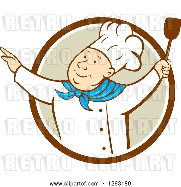 Vector Clip Art of Retro Cartoon Happy White Male Chef Dancing with a Spatula in a Brown White and Tan Circle
