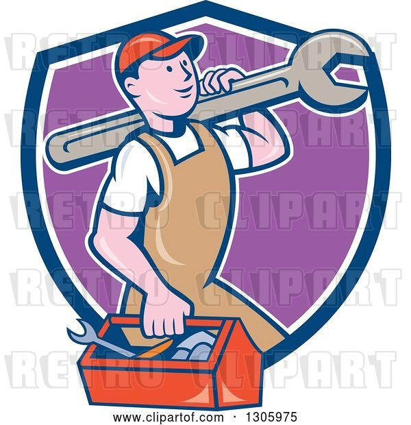 Vector Clip Art of Retro Cartoon Happy White Male Mechanic Carrying a Tool Box and Giant Wrench and Emerging from a Blue White and Purple Shield