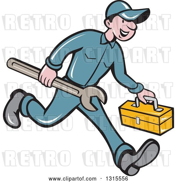 Vector Clip Art of Retro Cartoon Happy White Male Mechanic Runnign with a Spanner Wrench and a Tool Box