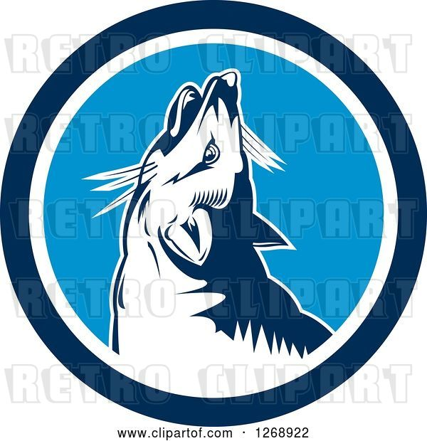 Vector Clip Art of Retro Cartoon Howling Fox in a Blue and White Circle
