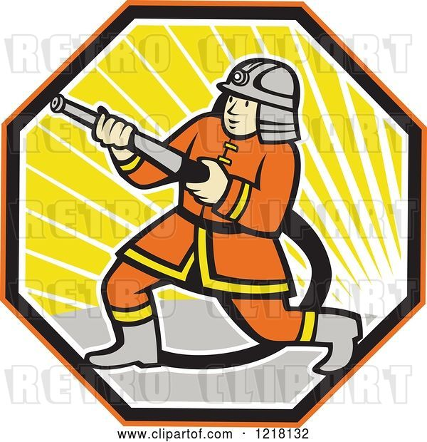 Vector Clip Art of Retro Cartoon Japanese Firefighter with a Hose in a Hexagon of Sunshine