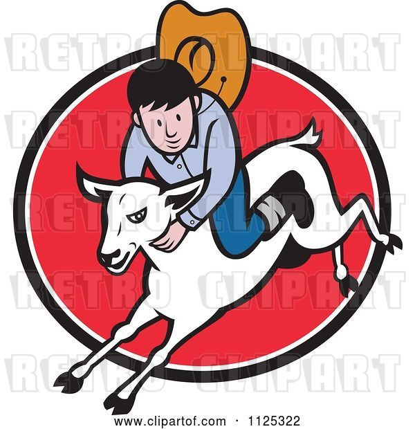 Vector Clip Art of Retro Cartoon Junior Rodeo Cowboy on a Sheep over a Red Oval