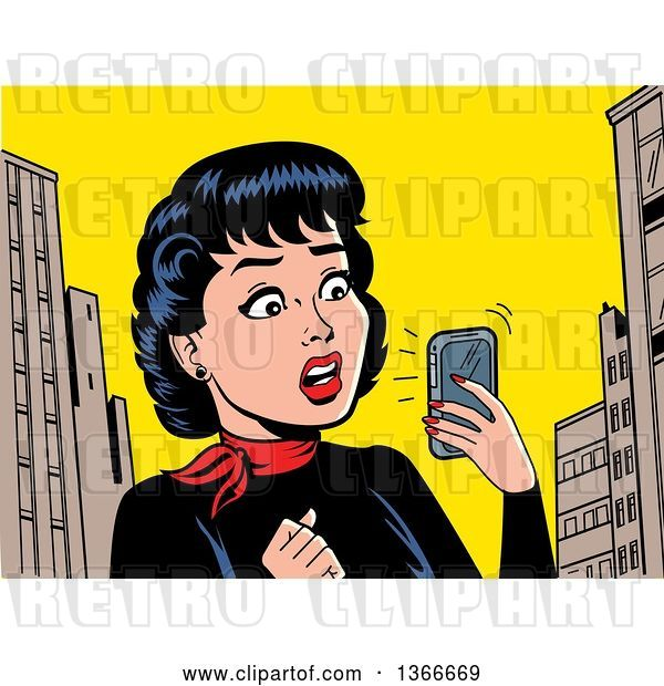 Vector Clip Art of Retro Cartoon Lady Holding a Smart Phone and Reading a Shocking Notification