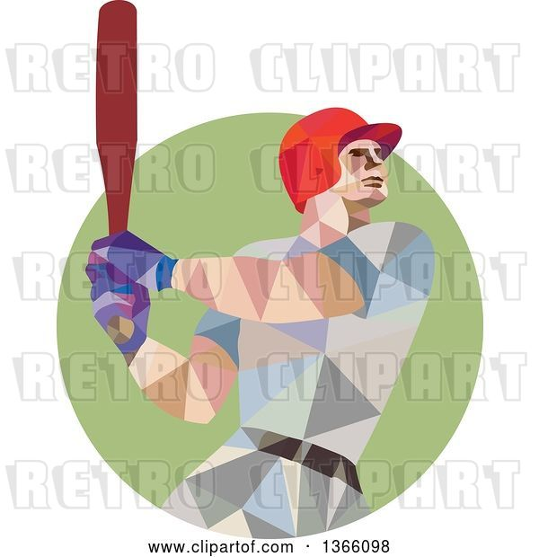 Vector Clip Art of Retro Cartoon Low Polygon Style Style Baseball Player Batting in a Green Circle