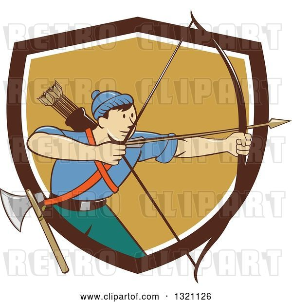 Vector Clip Art of Retro Cartoon Male Archer Aiming an Arrow and Emerging from a Brown White and Tan Shield