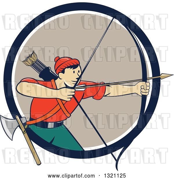 Vector Clip Art of Retro Cartoon Male Archer Aiming an Arrow and Emerging from a Navy Blue White and Tan Circle