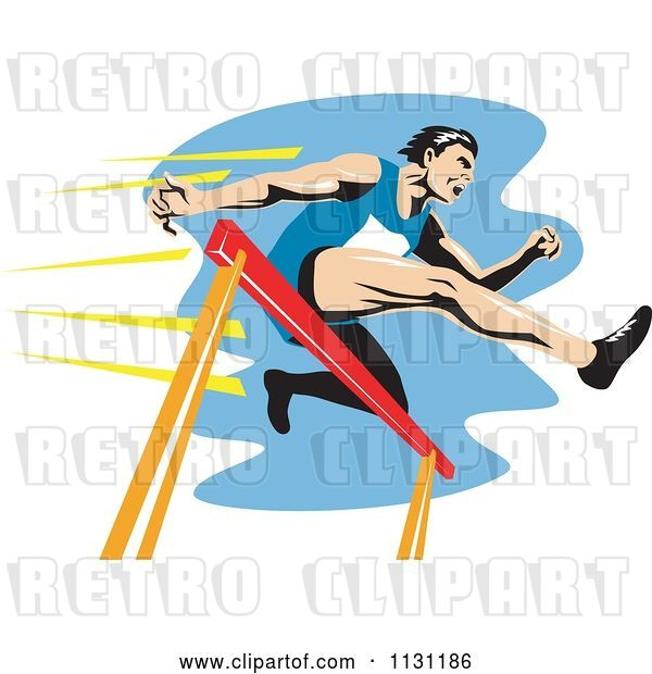Vector Clip Art of Retro Cartoon Male Athlete Jumping a Hurdle 3