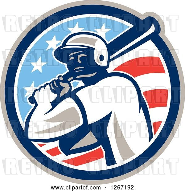 Vector Clip Art of Retro Cartoon Male Baseball Player Batting Inside an American Flag Circle